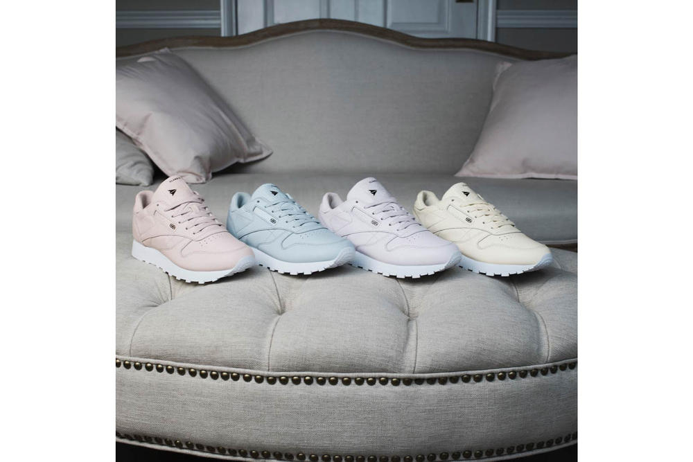 fb938f43345 FACE Stockholm Reebok Classic Leather Hazy White Misty Purple Cloudy Blue Muted  Pink Lookbook