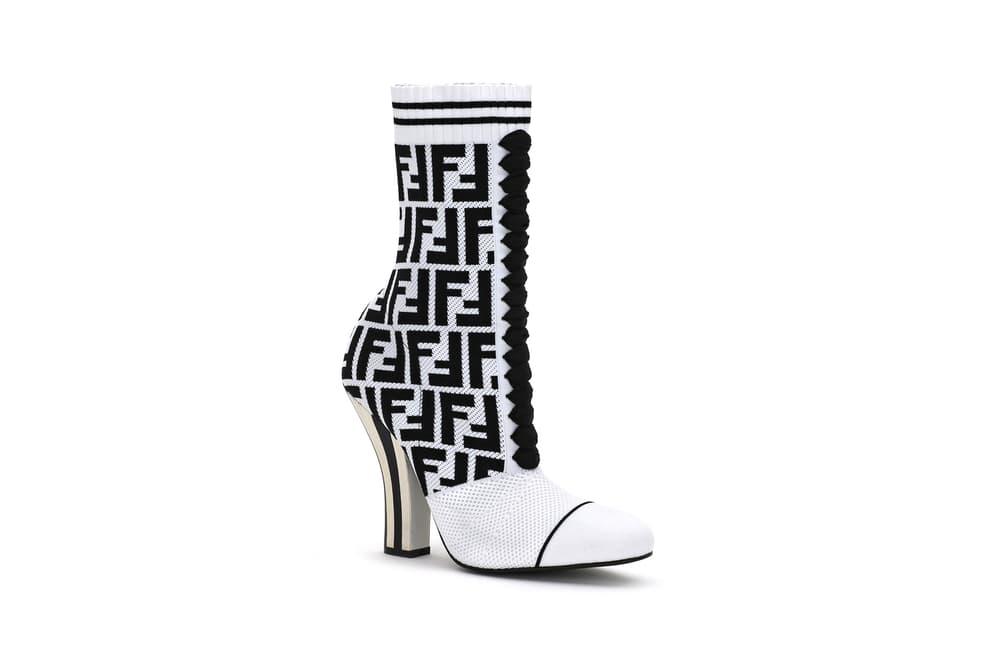 Fendi FF Logo Capsule Collection Rockoko Bootie Black White