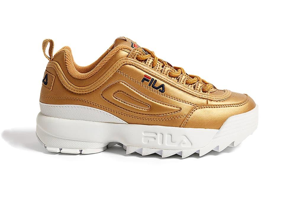 FILA disruptor 2 II metallic gold leather premium metal chunky bulky dad shoe sneakers womens where to buy urban outfitters