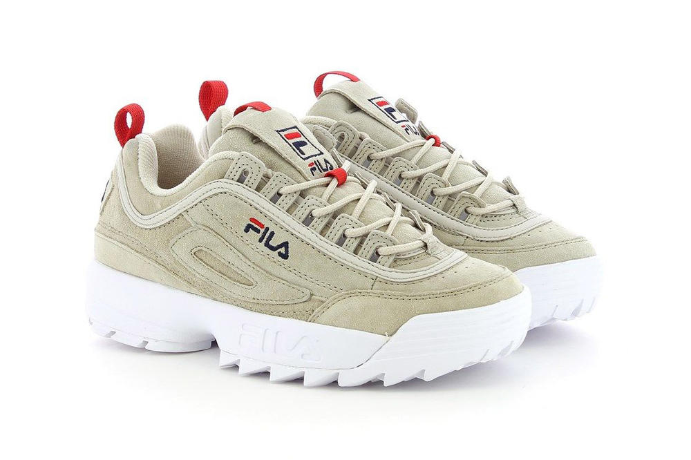 899ff7cf885 FILA Disruptor Low Turtle Dove Beige Natural Red Logo chunky bulky 90s dad  sneaker womens