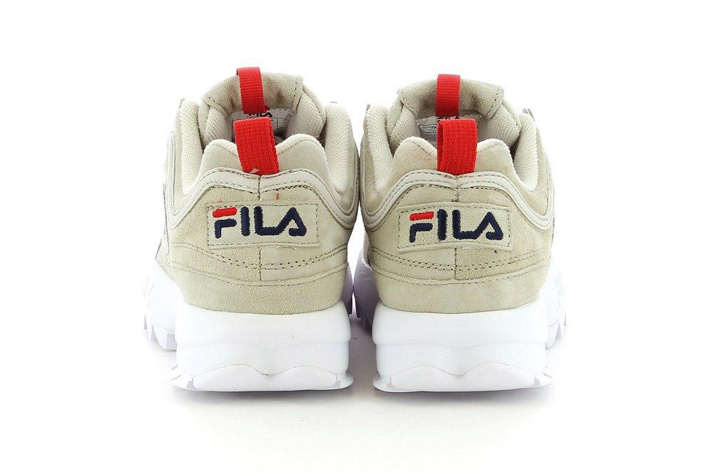 FILA Disruptor Low Turtle Dove Beige Natural Red Logo chunky bulky 90s dad sneaker womens
