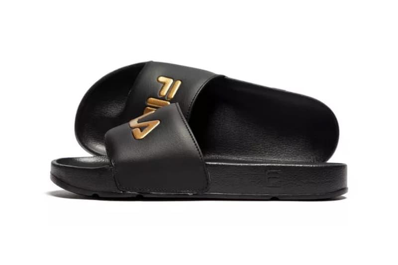 FILA Drifter Logo Slides Black Gold