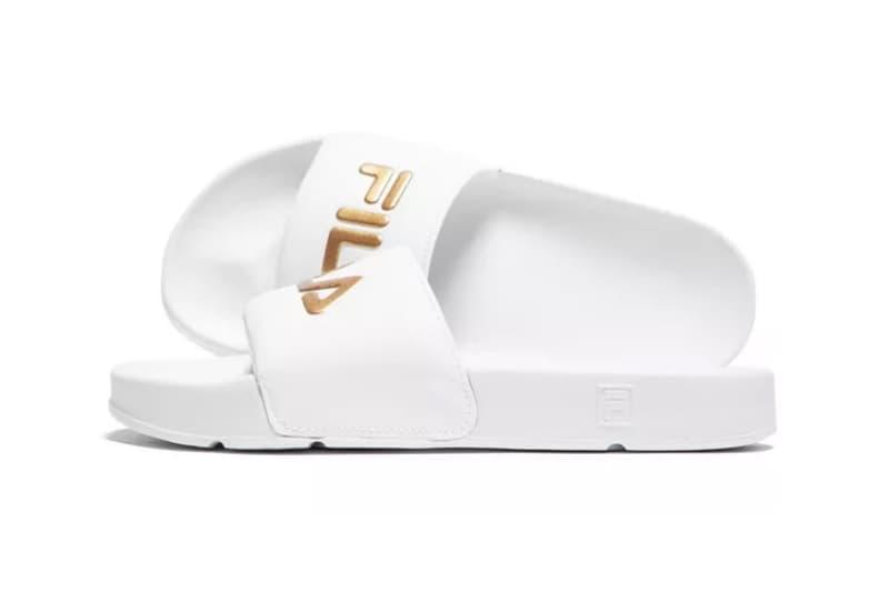 FILA Drifter Logo Slides White Gold