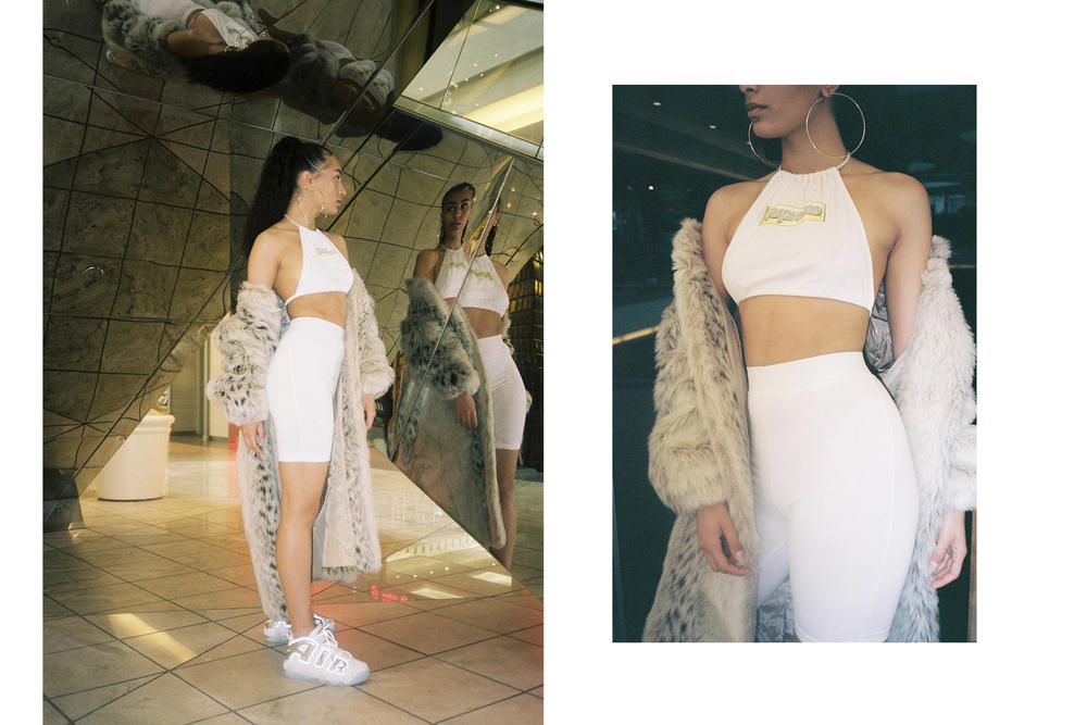 Frankie Collective Reworked Supreme Drop Halter Neck Bralette Crop Top Bandeau Logo Tube Dress Off Shoulder Bike Shorts Underwear Black White Red Sara Gourlay Yeezy Kim Kardashian
