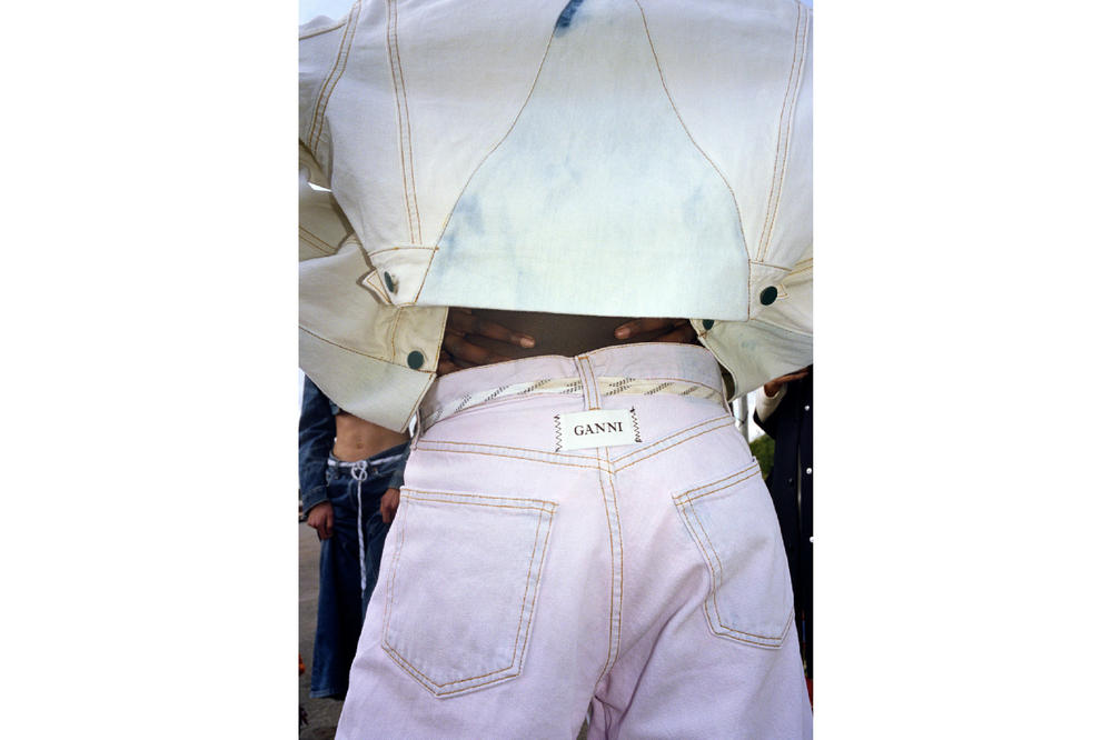 GANNI Oversized Pastel Denim Capsule Collection Jackets Jeans Wide Leg Cropped Scandi Style Scandinavian Net-a-porter Where to Buy