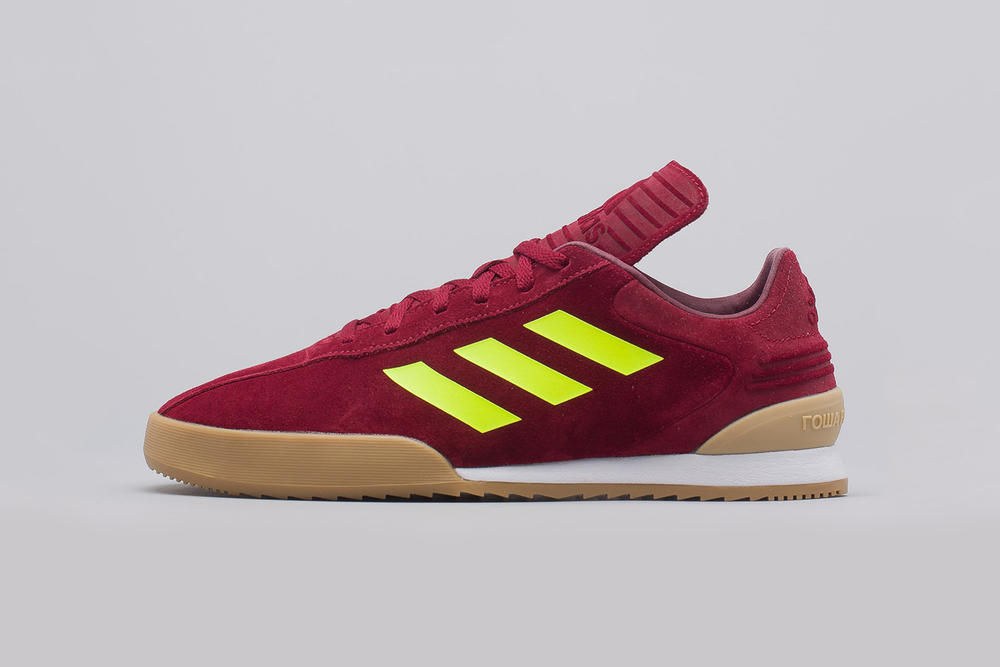 gosha rubchinskiy adidas copa trainers red neon yellow gum white side view profile