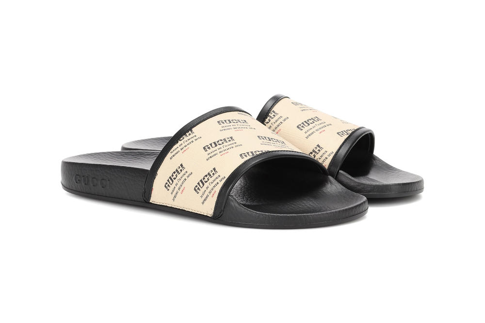 Gucci All-Over Logo Print Slides SS18 Spring Summer 2018 sandals slip on faded women's mens unisex where to buy mytheresa.com