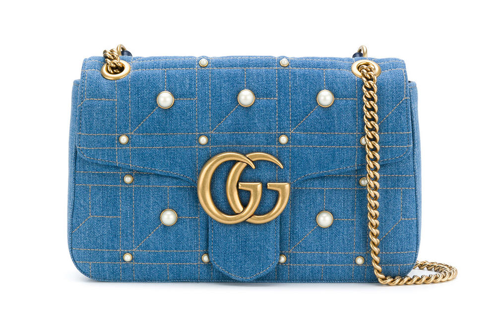 5439b34f907573 Gucci GG Marmont Shoulder Bag Handbag Denim Pearl embellished 90s designer  where to buy Farfetch
