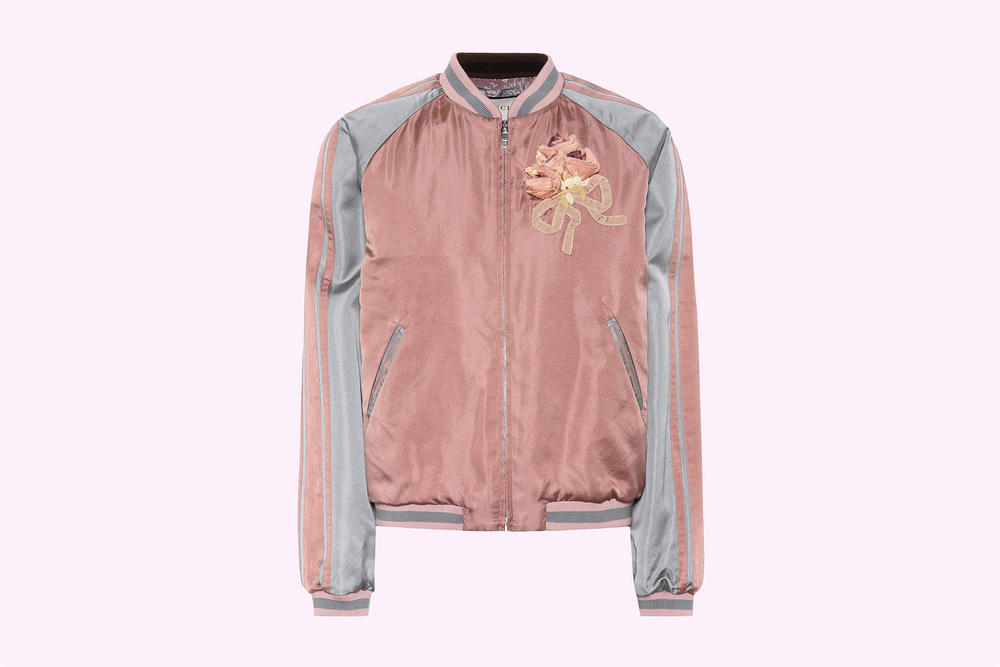 Gucci Embellished Guccy Cat Satin Bomber Jacket bootleg sequins pearls pink grey silver retro where to buy mytheresa.com alessandro michele