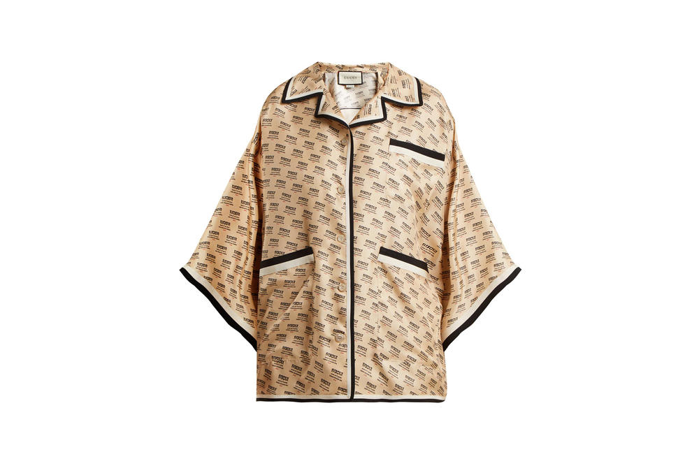 Gucci Invite Stamp Silk Shirt Beige