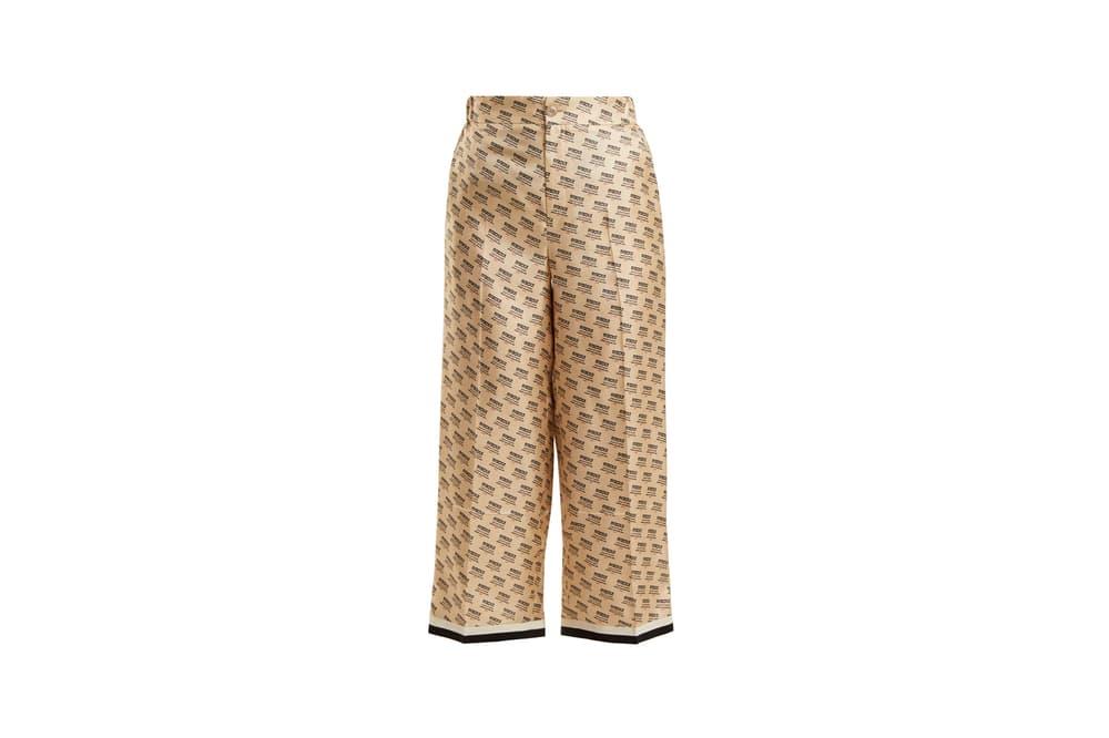Gucci Invite Stamp Silk Trousers Beige