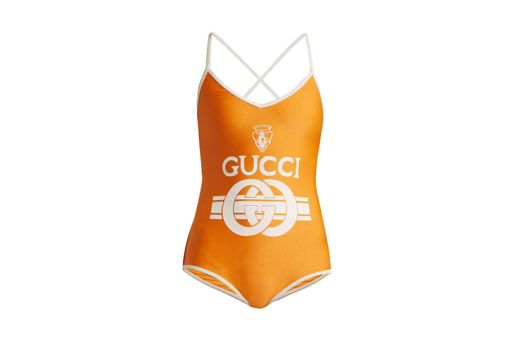 Gucci Orange/Yellow Retro Logo Bodysuit White Detail Swimsuit Shop Now Matchesfashion Alessandro Michele