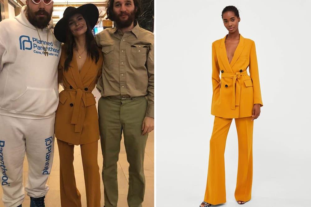 Emily Ratajkowski Zara Long Belted Jacket Flared Trouser Mustard Yellow