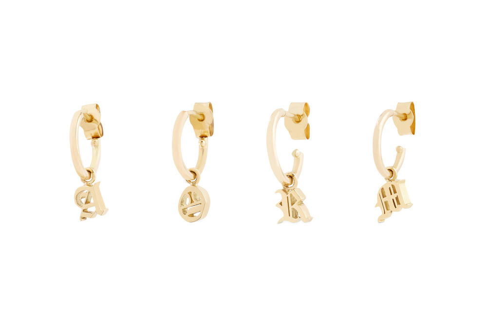 """Isabella Townsley Initial Hoop Earrings Gold """"A"""" """"O"""" """"R"""" """"M"""""""
