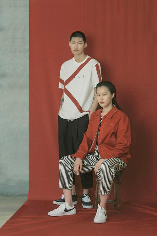 IISE Spring/Summer 2018 Collection Lookbook T-Shirt Panel Coach Jacket White Crimson