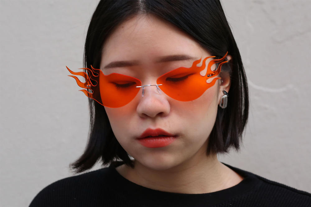 d893be3cde26 jzhong Meteor Flame Glasses Rihanna Sunglasses orange blue handmade NYC  instagram where to buy find