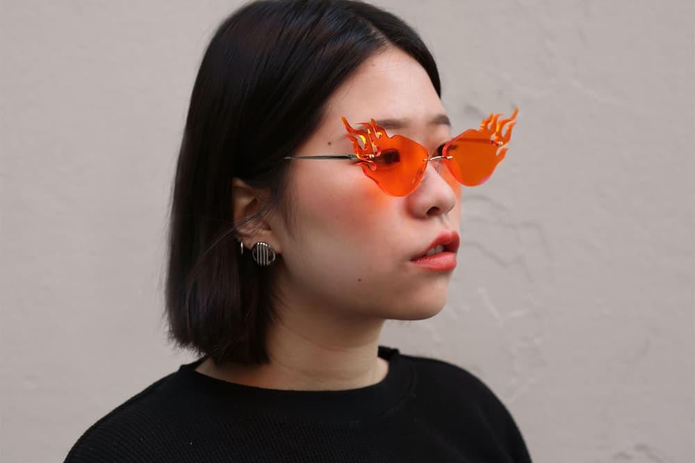 jzhong Meteor Flame Glasses Rihanna Sunglasses orange blue handmade NYC instagram where to buy find