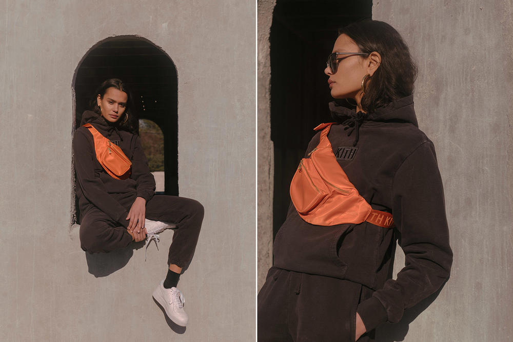 KITH Military Collection Lookbook Hailey Patch Hoodie Sweatpants Bum Bag Black Orange
