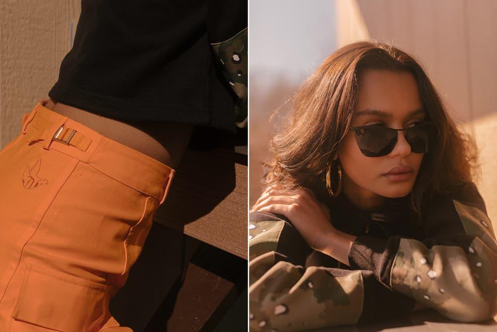 KITH Military Collection Lookbook Jaclyn Skirt M65 Jacket Orange Green Camo