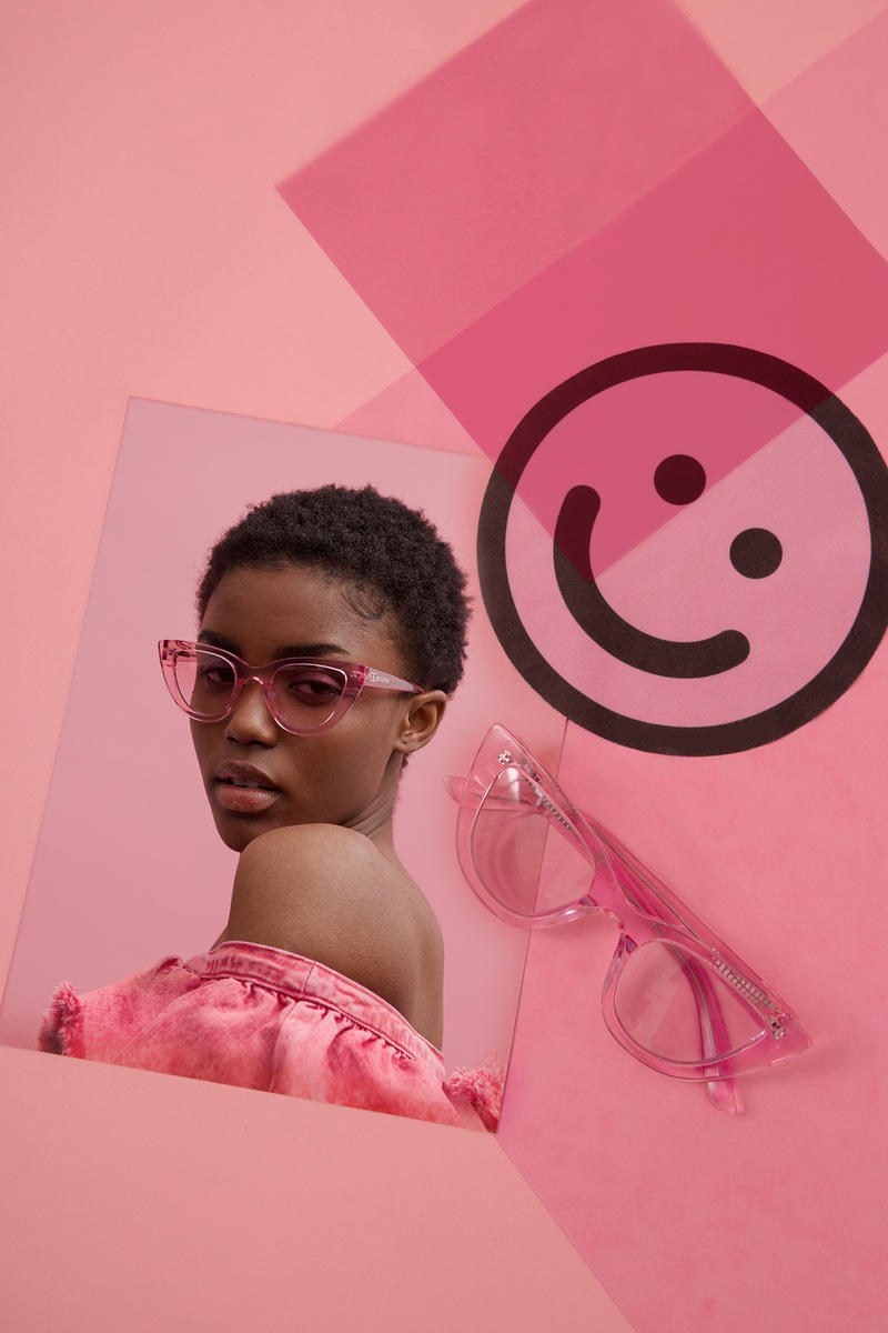 lazy oaf debut sunglasses collection london pink clear cat eye