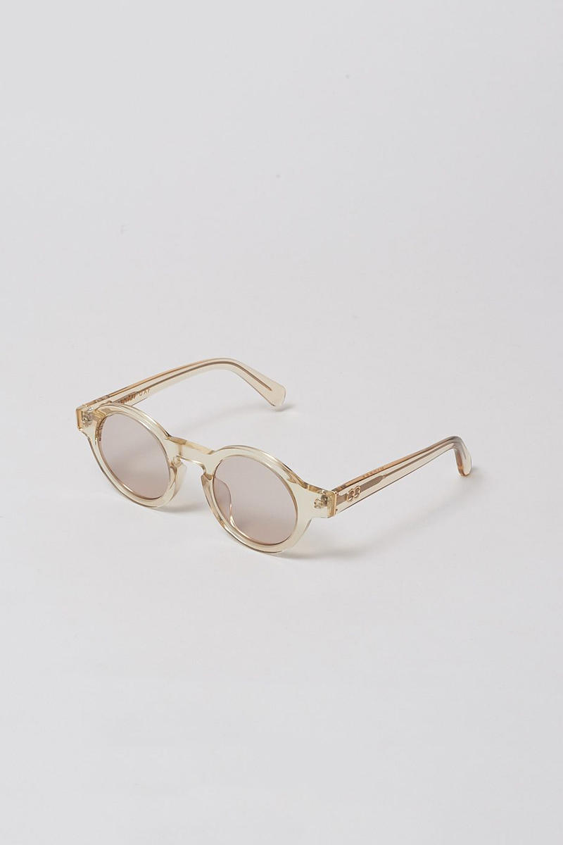lazy oaf debut sunglasses collection london round clear off white tan