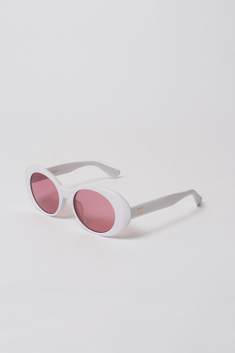 lazy oaf debut sunglasses collection london white oval pink shade