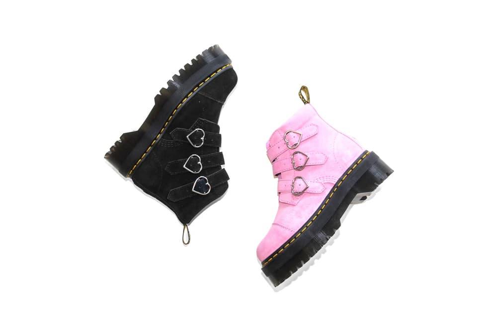 Lazy Oaf x Dr. Martens Suede Heart Boots Pink Black
