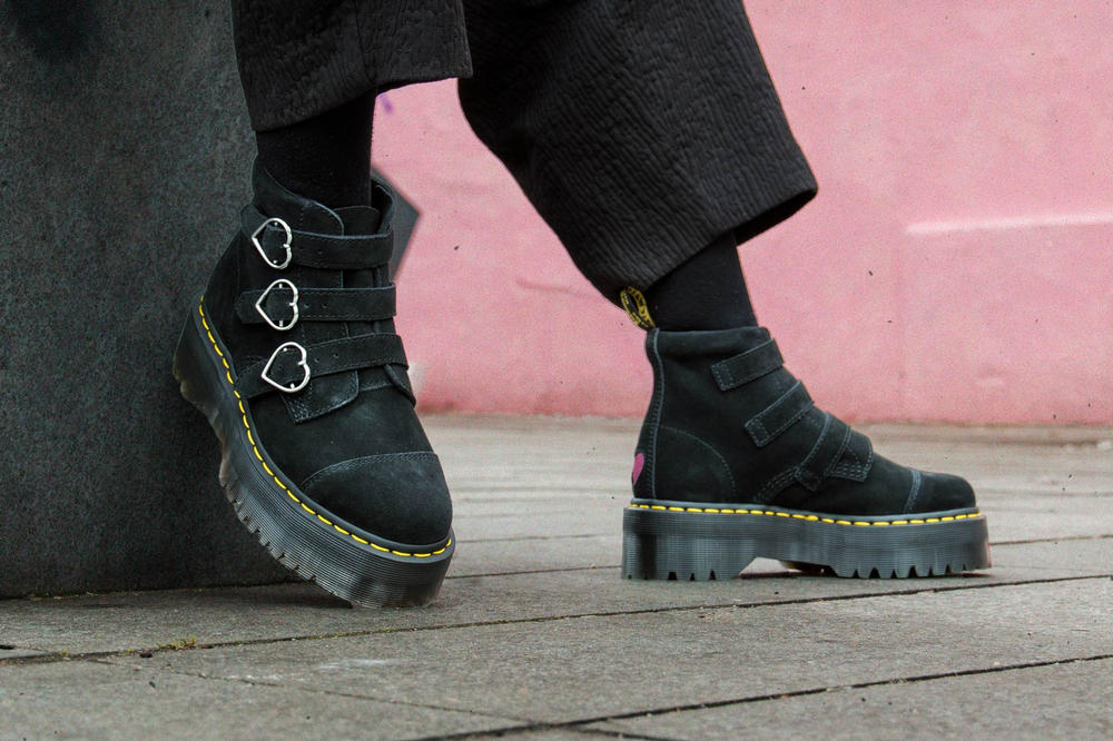 Lazy Oaf x Dr. Martens Suede Heart Boots Black