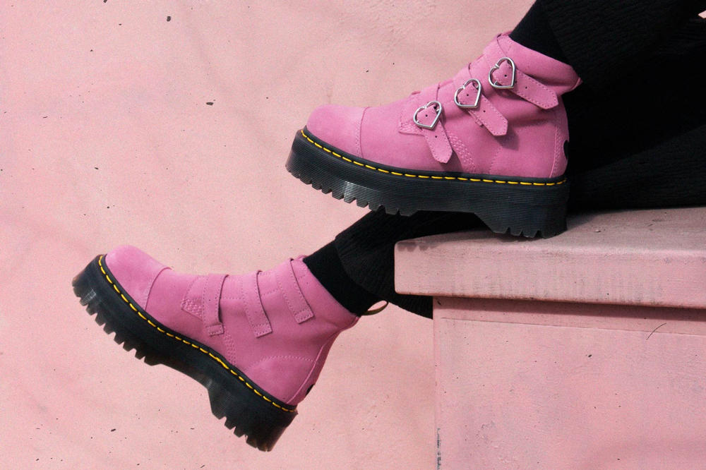 Lazy Oaf x Dr. Martens Suede Heart Boots Pink