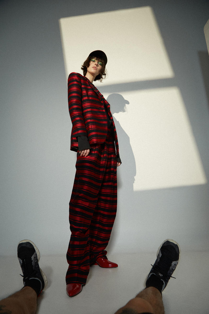 MSGM T-Shirt Marlene Birger Suit Shoes Stuart Weitzman Hat Awake NY Black Red