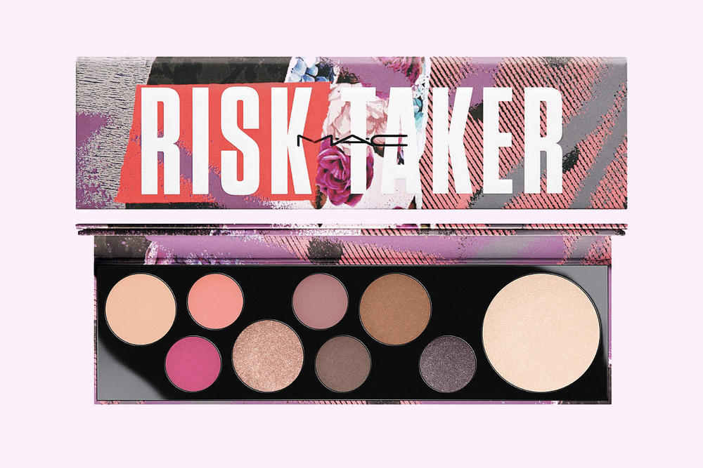 MAC Risk Taker Eyeshadow Palette highlighter 90s shimmery cosmetics  personality girls makeup beauty where to buy