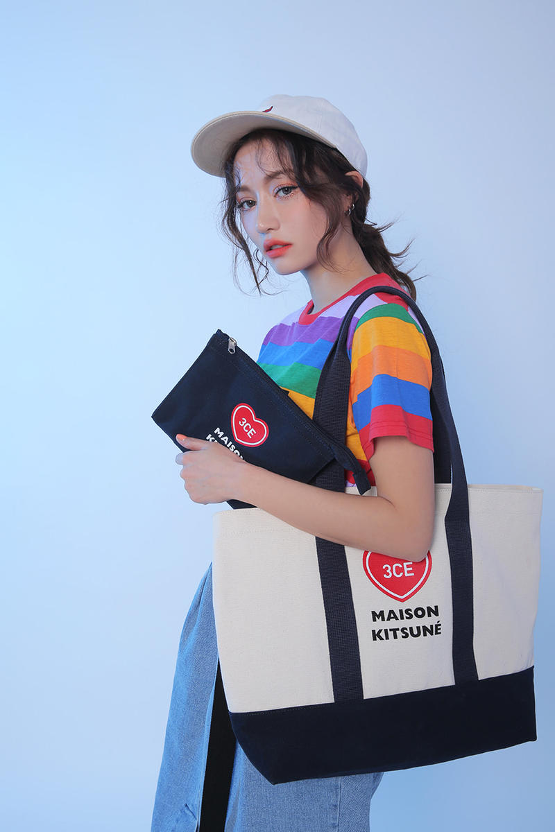 Maison Kitsuné 3CE Stylenanda Makeup Collection Korean Beauty Pouch Canvas Tote Bag