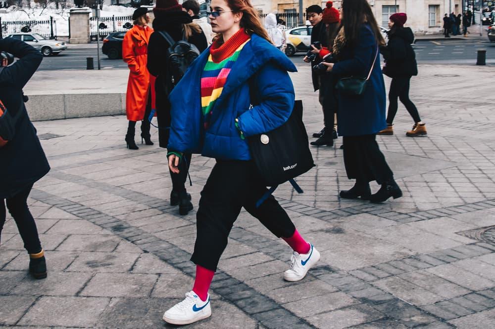 Streetsnaps Moscow Fashion Week 2018 Puffer Jacket Pants Blue Black