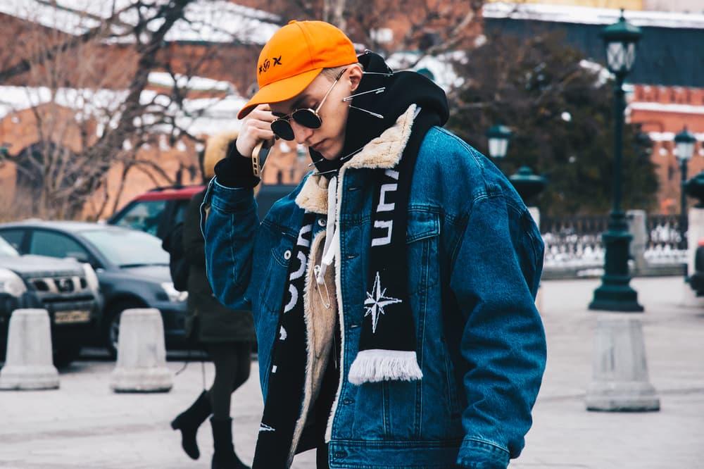 Streetsnaps Moscow Fashion Week 2018 Denim Jacket Hat Blue Orange