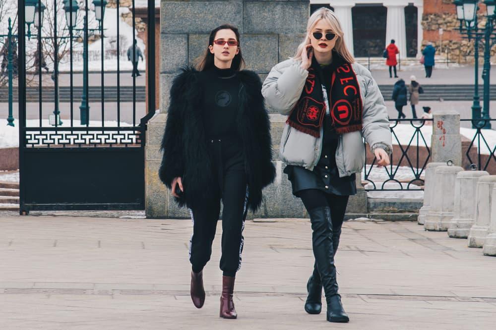 Streetsnaps Moscow Fashion Week 2018 Fur Jacket Puffer Coat Scarf Black Grey Red