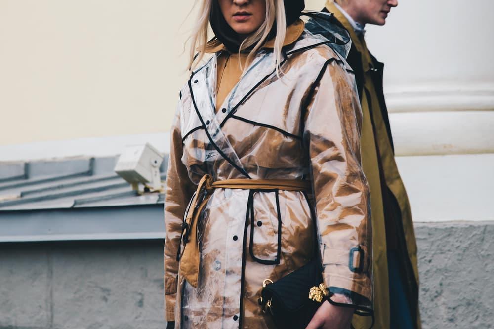 Streetsnaps Moscow Fashion Week 2018 Translucent Rain Coat Jacket Khaki