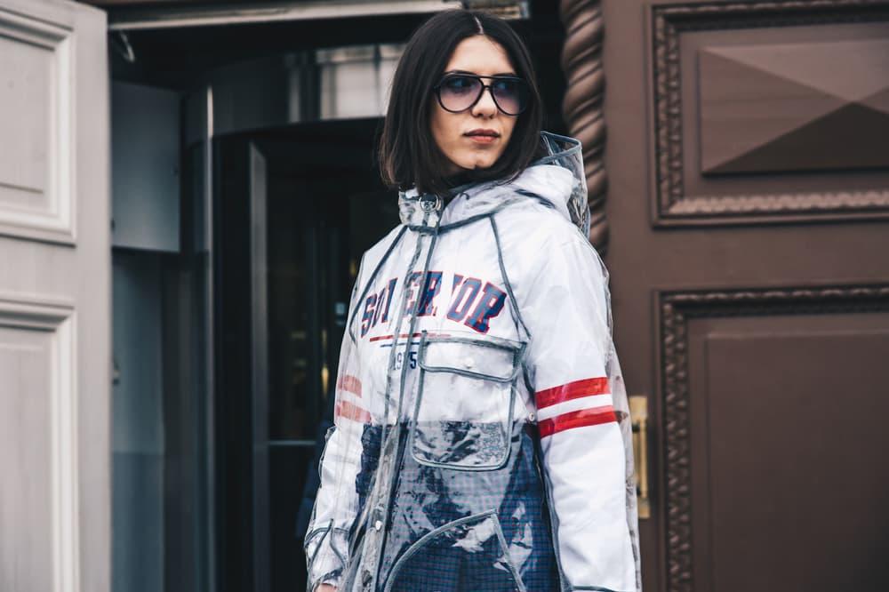 Streetsnaps Moscow Fashion Week 2018 Translucent Rain Coat Jacket White