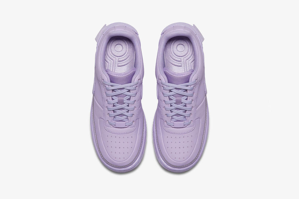 nike air force 1 low jester xx violet mist leather platform top view purple insole laces