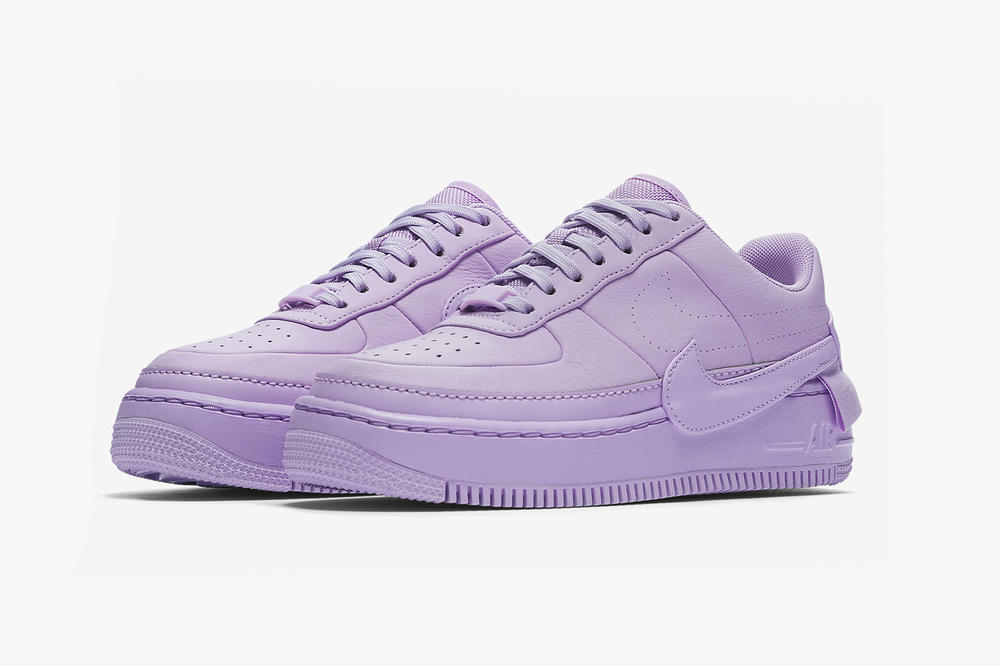 nike air force 1 low jester xx violet mist leather platform purple side pair