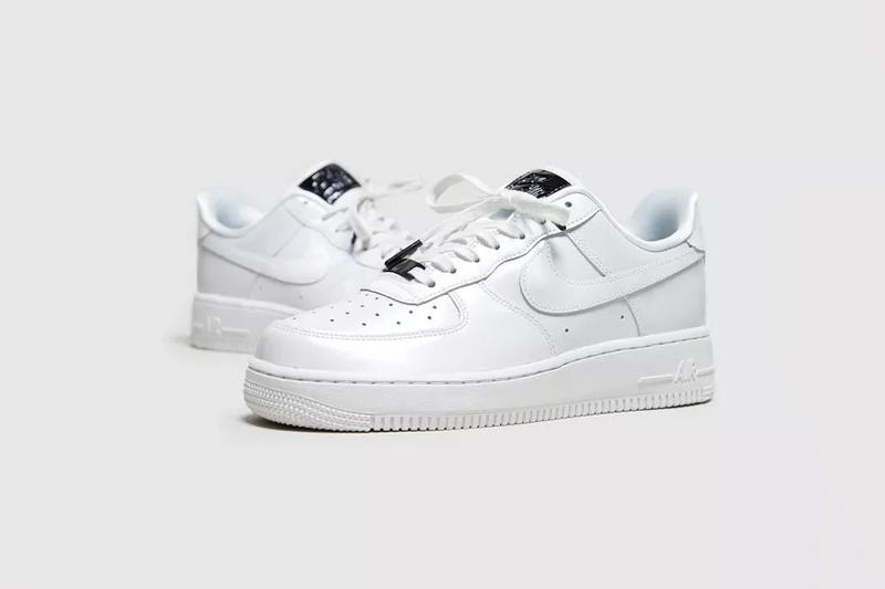 nike air force 1 shimmering iridescent white leather rubber sole black details