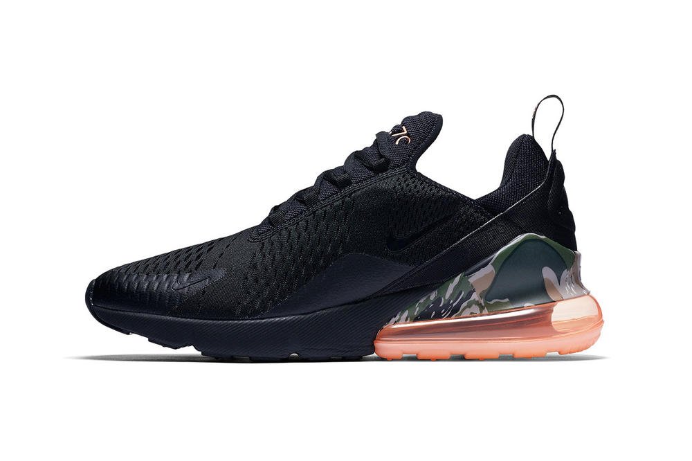 Nike Air Max 270 mens womens unisex camo camouflage print pattern heel orange coral bubble heel black sneaker where to buy