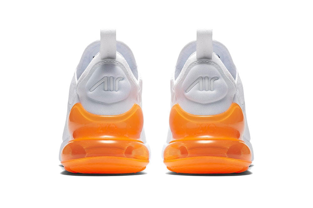 Nike Air Max 270 Hot Punch Total Orange see through transparent heel white mesh mens women's unisex where to buy