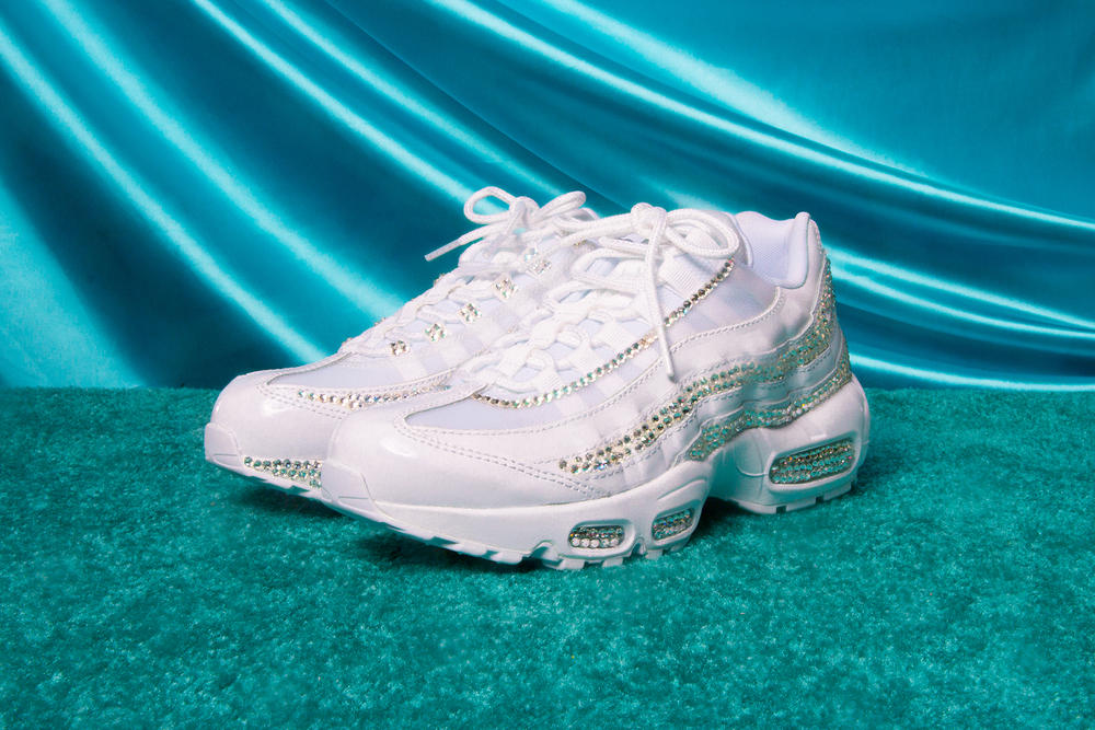 Nike Air Max Day 2018 Custom Swarovski Crystal Sneakers DIY 95 Sophia Wilson White