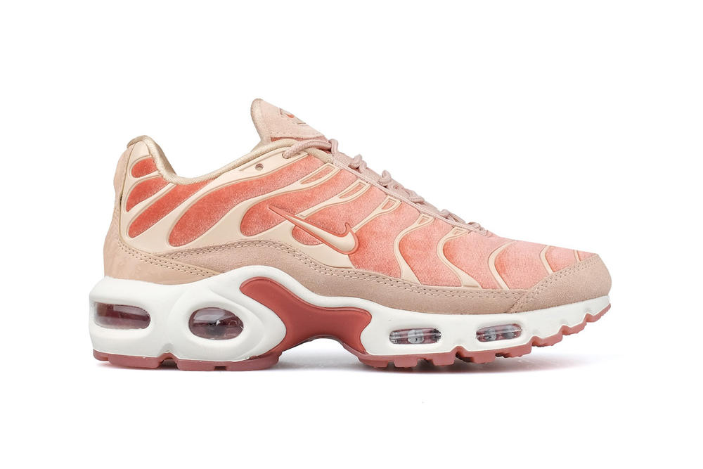 54a78b19599a Nike Air Max Plus LX Dusty Peach Velvet pastel lux tn tuned retro 90s womens  sneakers