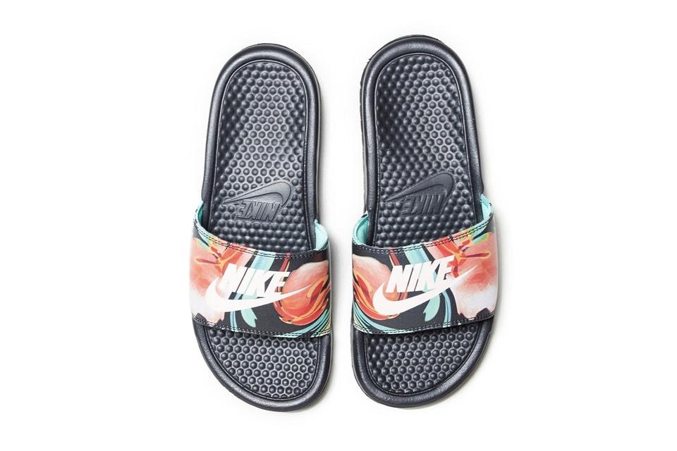 Nike Releases Benassi Logo Floral-Print Slides  4e19f35d0db0
