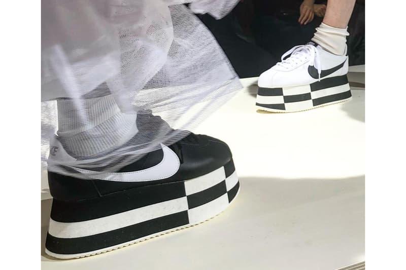 COMME des GARÇONS x Nike Platform Cortez Sneaker Paris Fashion Week 2018 Shoes Black White Chunky CDG Rei Kawakubo First Look