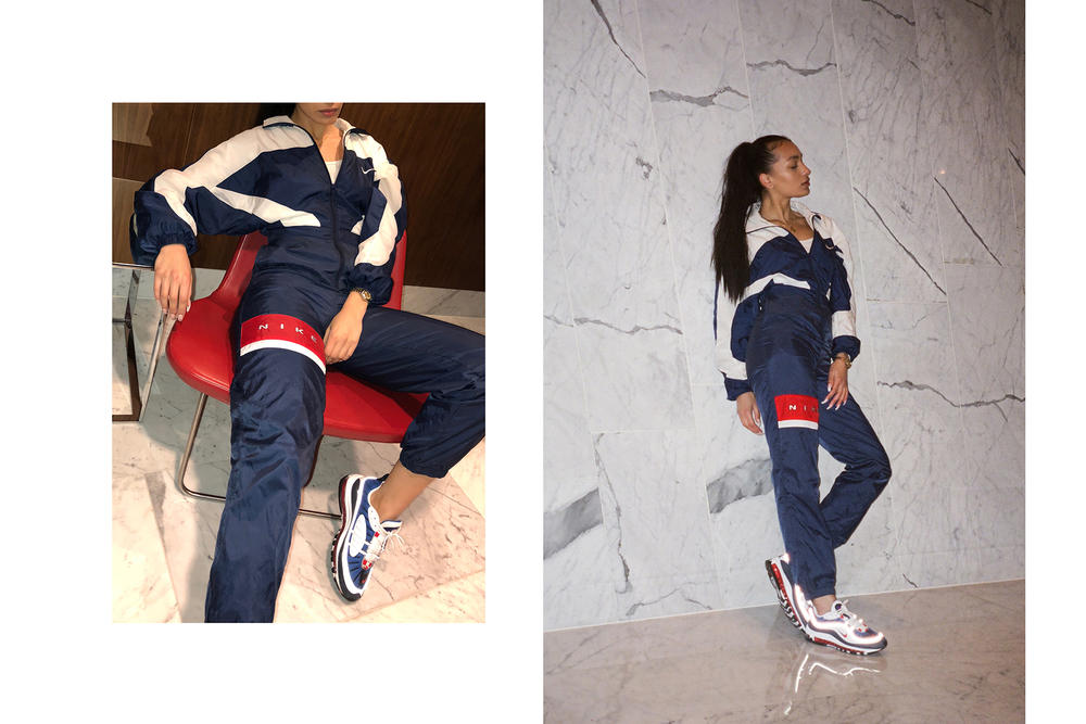 Frankie Collective Nike Air Max 98 Gundam Flight Suit Seismic Velocity Red White Blue Vintage Rework Retro Windbreaker Boiler Vancouver Canada Toronto Swoosh Editorial