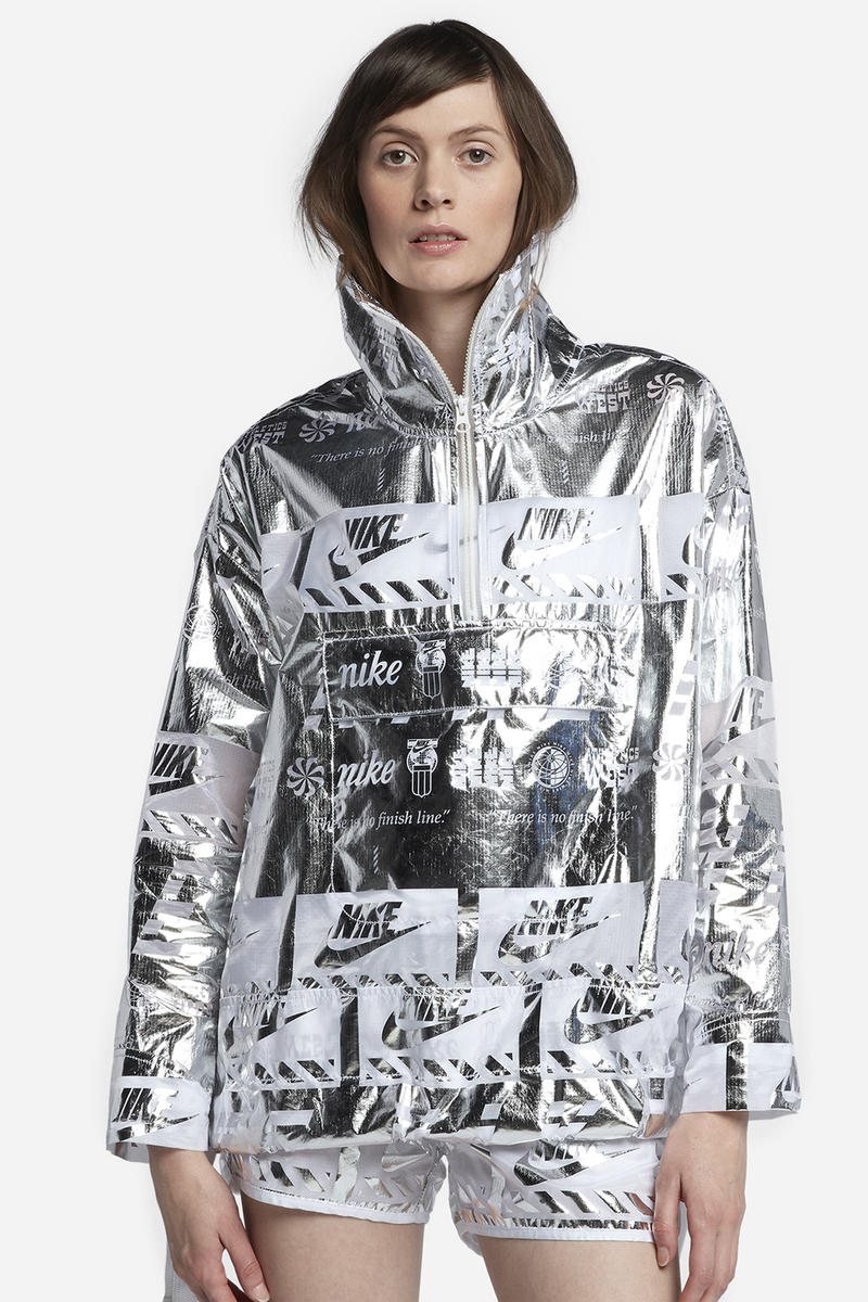 Nike womens jacket Metallic silver reflective shiny graphic logo jacket half zip where to buy futuristic naked copenhagen