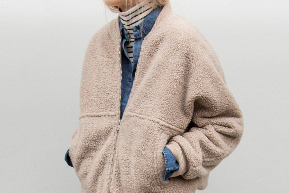 OAK + FORT Mix Match Outerwear Sale Discount 40 Percent Off In Store Online Vancouver Jackets Bomber Coat Winter Fall Cardigan Wool Knit Teddy Bear Fluffy Furry Minimalist