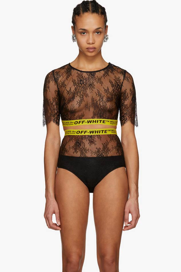 4d79d7282161 Shop Off-White's Lace Sporty Bodysuit in Black | HYPEBAE